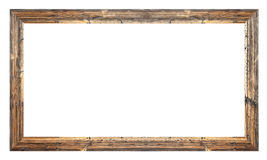 Old wooden frame. On white background Royalty Free Stock Images