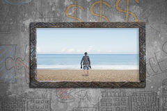 Old wooden frame window sea view with barefoot man Stock Image