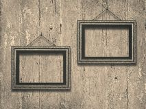 Old wooden frames on vintage  wooden background. Old wooden frames on vintage   wooden  background royalty free stock photo