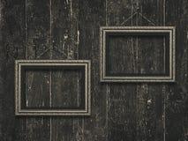 Old wooden frames on vintage  wooden background. Old wooden frames on  vintage  wooden  background stock images