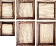 Old wooden frames on wood background Stock Images
