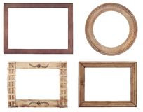 Old wooden frames on wood background Stock Photos