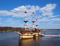 Old wooden frigate royalty free stock photo