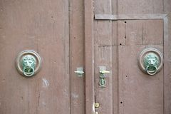 Old wooden front door. stock photography