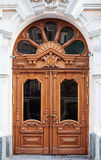 Old wooden Front Door of a Traditional European Town House Royalty Free Stock Image