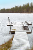Old wooden gangway. Old wooden gangway on the ice-covered lake in late autumn Royalty Free Stock Image