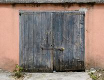 Old wooden garage door Stock Photography
