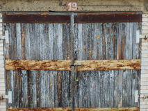 An old wooden garage door Royalty Free Stock Photos