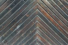 Old Wooden Gate Detail with Herringbone Pattern Royalty Free Stock Photography