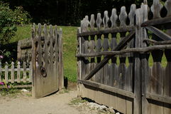 Old wooden gate entrance Stock Photos