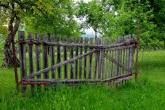 Old wooden gate. In the garden royalty free stock photos