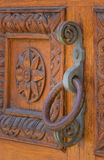 Old wooden gate, iron handle fragment Royalty Free Stock Photo