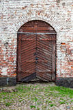 Old wooden gate at the medieval castle Royalty Free Stock Image