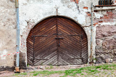 Old wooden gate at the medieval castle Stock Image