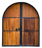 Old Wooden gate with metal decoration isolated on white background stock photography