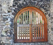Old monastery wooden gate, Ischia island - Italy Stock Photo
