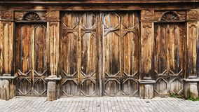 Old wooden gate in the Russian style Royalty Free Stock Photo
