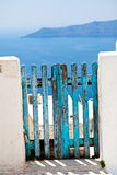 Old wooden gate in Santorini Royalty Free Stock Photo