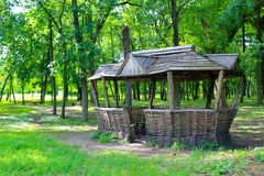 Old wooden gazebo in park. Old wooden gazebo in the park Royalty Free Stock Image