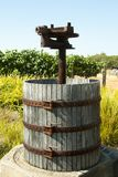 Grape Press. Old Wooden Grape Press on Display Royalty Free Stock Photo
