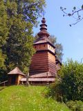 Old wooden Greek orthodox church. Beautiful wooden Greek orthodox church in Kotan in podkarpackie region in southern Poland sorrounded by old trees. Built in Royalty Free Stock Photo