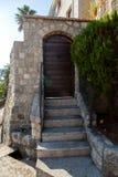 Old wooden green doors in Montenegro. In Kotor Royalty Free Stock Photos