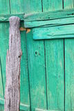 Old wooden green gate Stock Photography