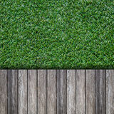 Old wooden with green grass Stock Image