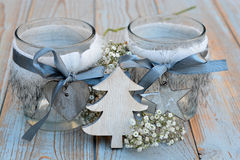 Old wooden grey shelves with grey white Christmas  wooden decoration Stock Photo