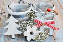 Old wooden grey shelves with grey white Christmas  wooden reindeer  decoration Stock Images
