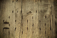 Old wooden grunge background with metal rusty nails Royalty Free Stock Photos