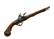 Old wooden gun. Isolated on white Royalty Free Stock Photography