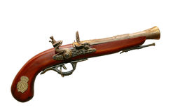Old wooden gun. Isolated on white Royalty Free Stock Images