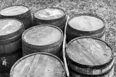 Old wooden gun powder barrels Stock Images