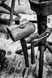 Old wooden hammers. Detail of some ancient crafts hammers royalty free stock photography