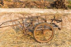 Old wooden handcart Stock Image