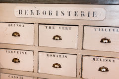 Old Wooden Herbalist's Shop Drawers Stock Photos