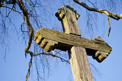 Old wooden historical cross fragment Royalty Free Stock Images