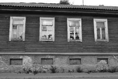 Old wooden home in Vyborg. The exterior of a old wooden home in Vyborg, Russia. Black and white Stock Photography