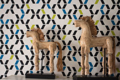 Old wooden horse decoration Stock Photos