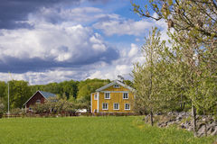 Old wooden hosues in Sweden Royalty Free Stock Image