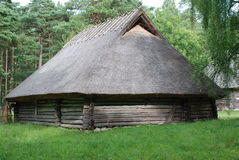 Old wooden house. Wooden buliding from estonian open air Rokka-al-mare museum Stock Photography