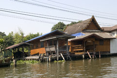 Old wooden house in Bangkok. River Royalty Free Stock Photos