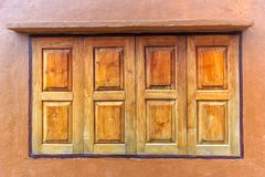 Old wooden house door, Thailand traditional style.  Stock Photo