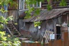 Old wooden house dwelling of beggars Stock Images