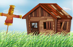 Old wooden house in the field. Illustration Stock Photography