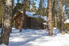 Old wooden house on the Finnish forest in winter.  Stock Photos