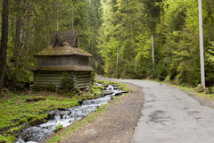 Old wooden house in the forest Royalty Free Stock Images