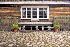 Old wooden house fragment Stock Photo