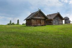 Old wooden house, an old hut in the field, outside the city of Kiev, Ukraine royalty free stock photography